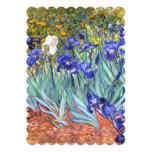 """Bella arte floral del vintage de los iris de invitación 5"""" x 7"""""""