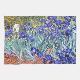 Bella arte floral del vintage de los iris de toalla de cocina