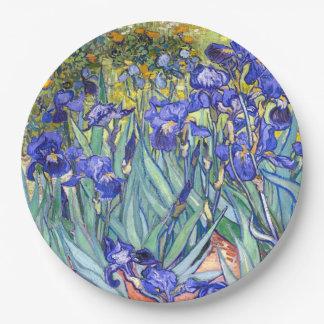Bella arte floral del vintage de los iris de plato de papel de 9 pulgadas