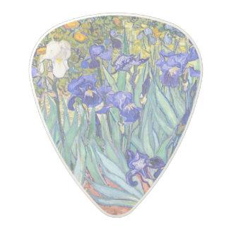 Bella arte floral del vintage de los iris de púa de guitarra de policarbonato