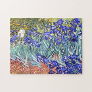 Bella arte floral del vintage de los iris de rompecabeza