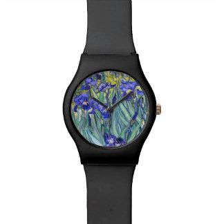 Bella arte floral del vintage de los iris de relojes de mano