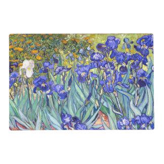 Bella arte floral del vintage de los iris de salvamanteles
