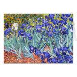Bella arte floral del vintage de los iris de tarjeta pequeña