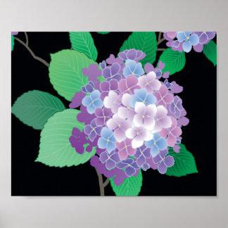 Bella arte floral japonesa del Hydrangea lindo Poster
