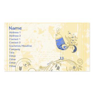 Bella arte floral retra del pájaro azul tarjetas de visita