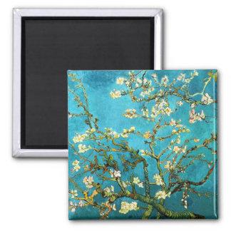 Bella arte floreciente del árbol de almendra de imán cuadrado