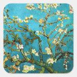 Bella arte floreciente del árbol de almendra de calcomanías cuadradas personalizadas