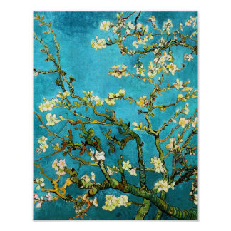 Bella arte floreciente del árbol de almendra de póster