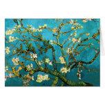 Bella arte floreciente del árbol de almendra de tarjeta de felicitación