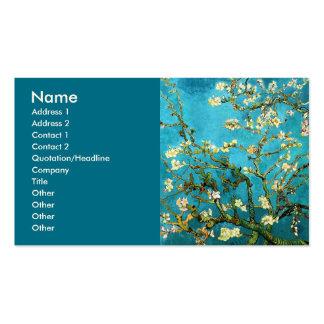 Bella arte floreciente del árbol de almendra de tarjetas de visita
