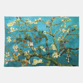 Bella arte floreciente del árbol de almendra de toallas de cocina