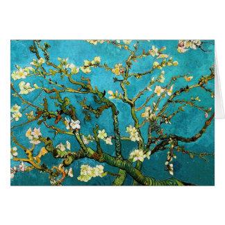 Bella arte floreciente del árbol de almendra de Va Tarjetón