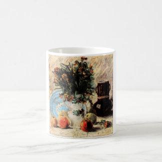 Bella arte, flores, cafetera y fruta de Van Gogh Taza Clásica