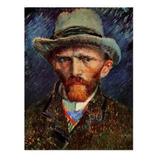 Bella arte gris de Van Gogh del sombrero de Tarjetas Postales