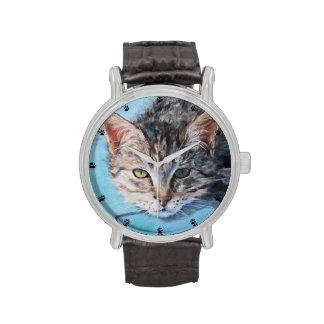 Bella arte gris del gato de Tabby Relojes De Mano