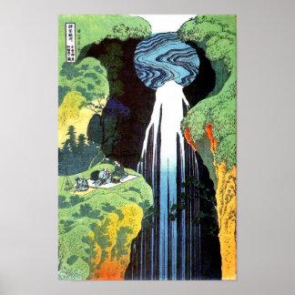 Bella arte japonesa de la cascada de Hokusai Amida Póster