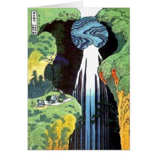 Bella arte japonesa de la cascada de Hokusai Amida Tarjeta Pequeña