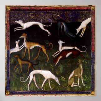 Bella arte medieval de los galgos poster