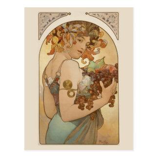 Bella arte Nouveau Jugendstil Mucha Postal
