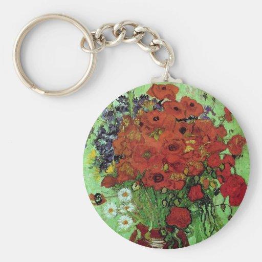 Bella arte roja de las amapolas y de las llavero redondo tipo pin