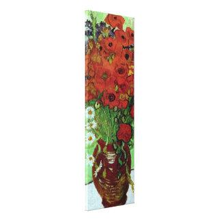 Bella arte roja de las amapolas y de las margarita lona estirada galerias
