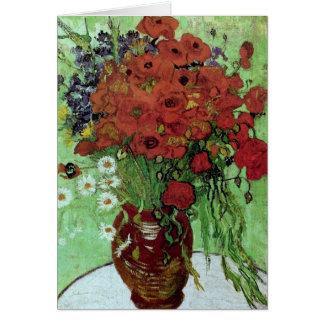 Bella arte roja de las amapolas y de las margarita tarjeta