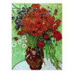 Bella arte roja de las amapolas y de las margarita postales
