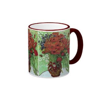Bella arte roja de las amapolas y de las margarita tazas