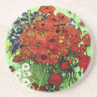 Bella arte roja de las amapolas y de las posavasos diseño