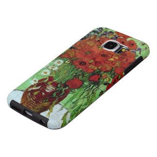 Bella arte roja de Van Gogh de las amapolas y de Fundas Samsung Galaxy S6