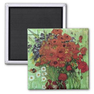 Bella arte roja de Van Gogh de las amapolas y de Imán Cuadrado