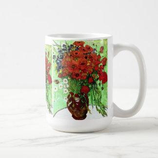 Bella arte roja de Van Gogh de las amapolas y de Taza Clásica