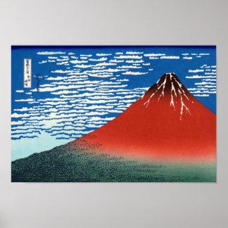 Bella arte roja del japonés de Fuji Hokusai Póster