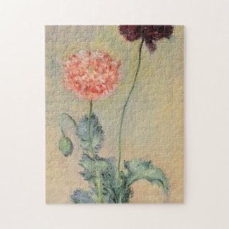 Bella arte roja y rosada de Monet de las amapolas Puzzle Con Fotos