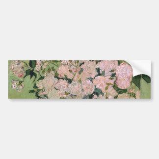 Bella arte rosada de los rosas de Van Gogh (F682) Pegatina Para Auto