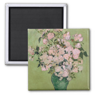 Bella arte rosada de Van Gogh de los rosas Imán Cuadrado