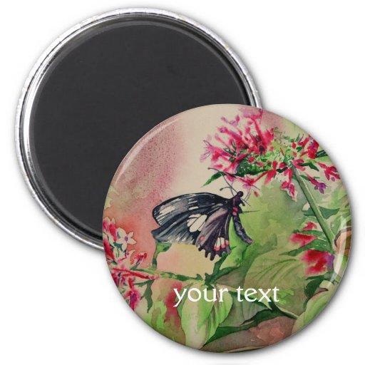 bella arte Rubí-manchada de Swallowtail Imán Redondo 5 Cm