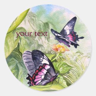 Bella arte tropical en peligro de las mariposas pegatina redonda
