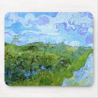 Bella arte verde de Van Gogh de los campos de Alfombrilla De Raton