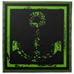 Bella arte verde del ancla de la cal servilletas imprimidas