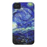 bella arte vVan de la noche estrellada de Gogh iPhone 4 Case-Mate Carcasas