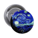 bella arte vVan de la noche estrellada de Gogh Pin Redondo De 2 Pulgadas