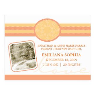 Bella Baby Citrus Birth Announcement Postcard