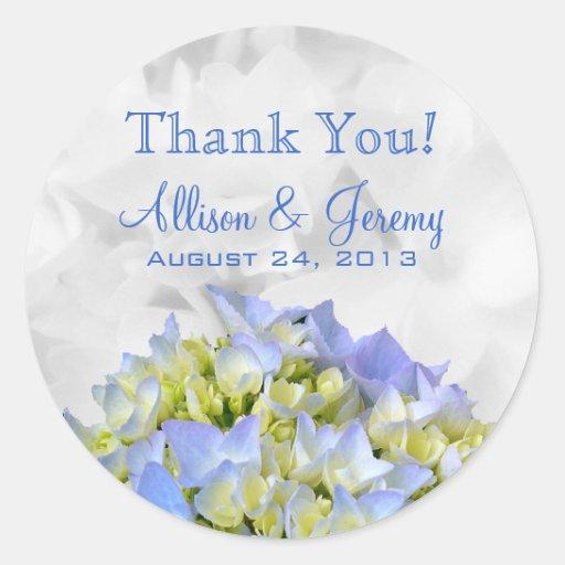 Bella Blue Hydrangeas Round Reception Favor Labels Stickers