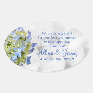 Bella Blue Wedding Hydrangea Oval Favor Labels Oval Sticker