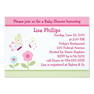 """Bella Butterfly and Flowers Baby Shower Invitation 5"""" X 7"""" Invitation Card"""