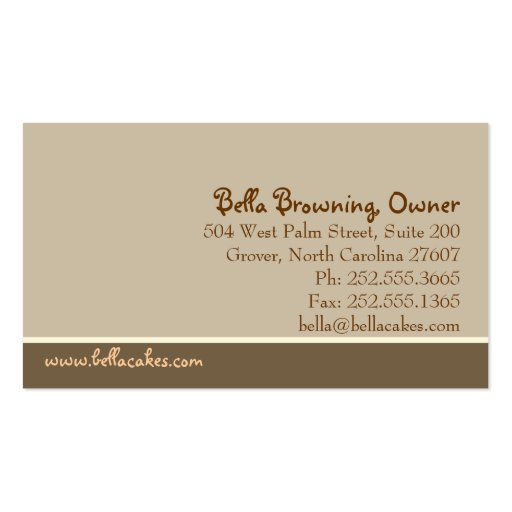 Bella Cake Business Card (back side)