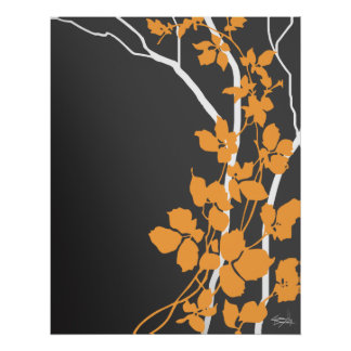 Bella Cherry Blossoms | charcoal tangerine orange Poster