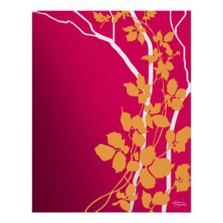 Bella Cherry Blossoms | fuchsia tangerine orange Poster